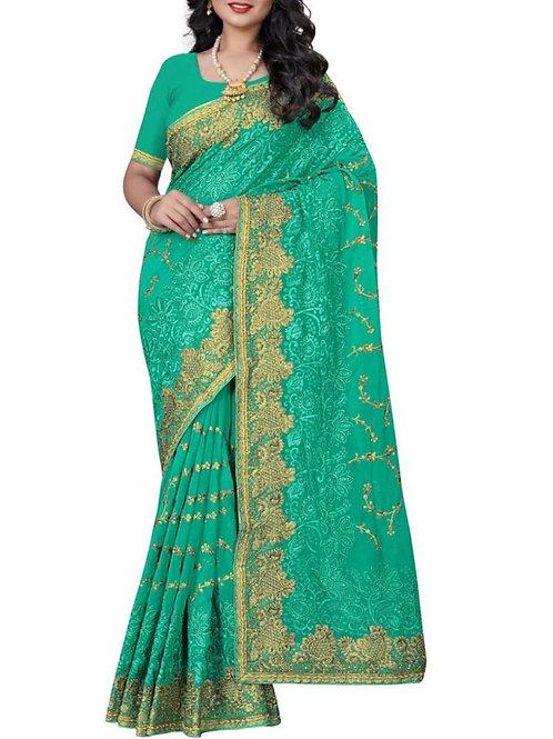 Elegant Sea Green Color Saree Fashion