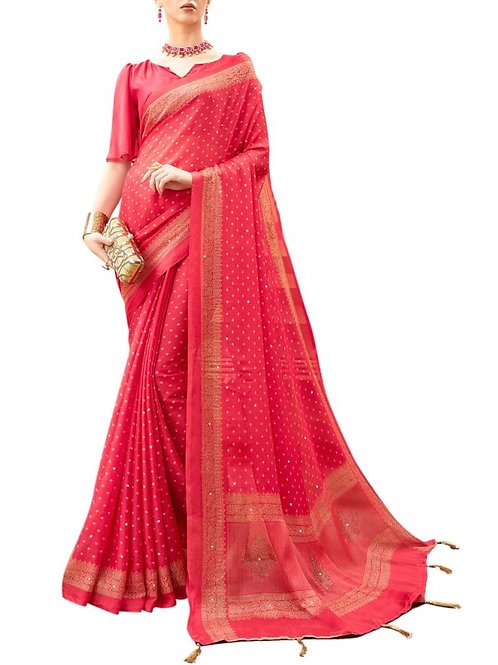 Blissful Red Color Online Saree Shopping