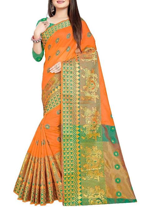 Delight Dark Orange Fancy Sarees Online