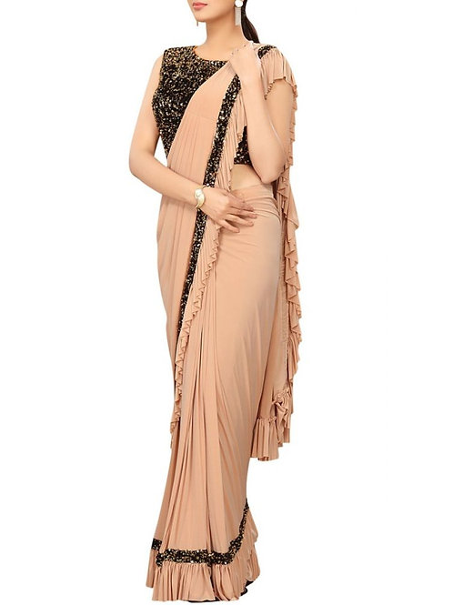 Fabulous Chiku Color Party Wear Sarees With Price