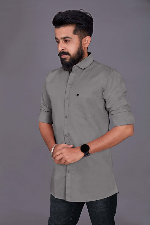 Latest Grey Color Evening Style Shirt With Full Sleeve