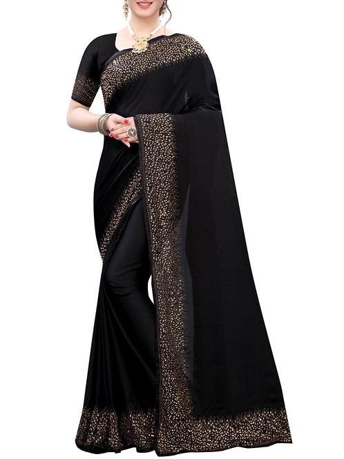 Gratifying Black Latest Saree Design With Price