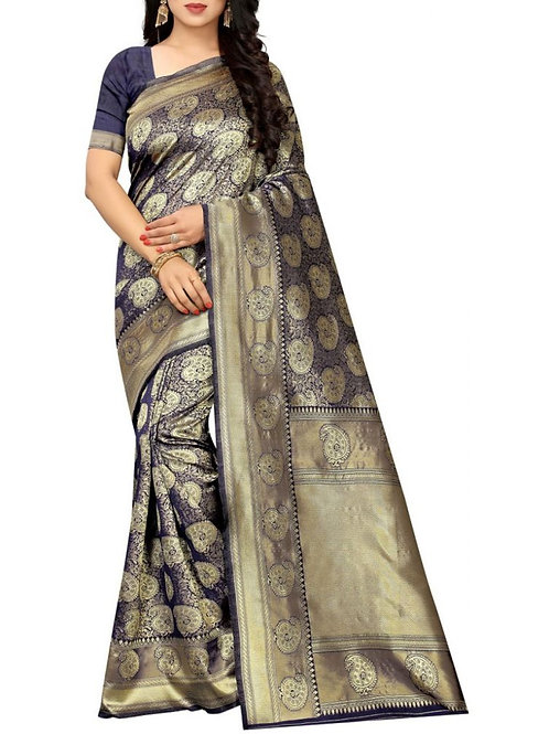 Overpowering Navy Blue Fancy Saree Online Shopping