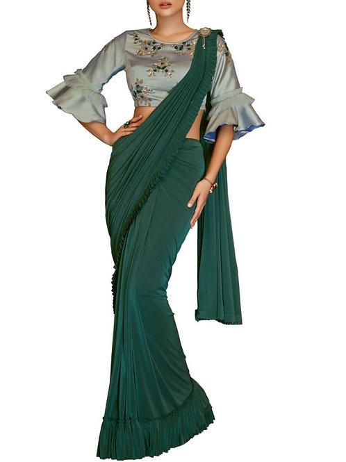 Embellished Lycra Saree In Green
