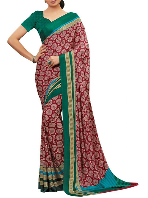 Eye-Popping Maroon Color Crepe Saree
