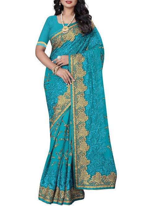 Pleasing Sky Blue Color Indian Wedding Saree