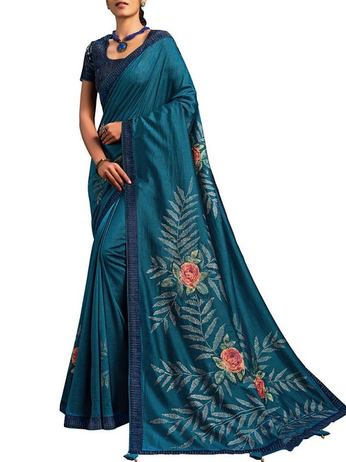 Beautiful Teal Blue Saree Sale