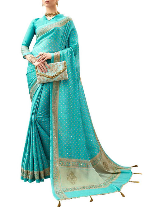 Astonishing Sky Blue Color Online Designer Saree Shopping Sites