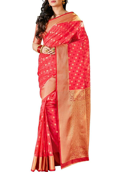 Lovely Tomato Color Fancy Designer Sarees Online Shopping