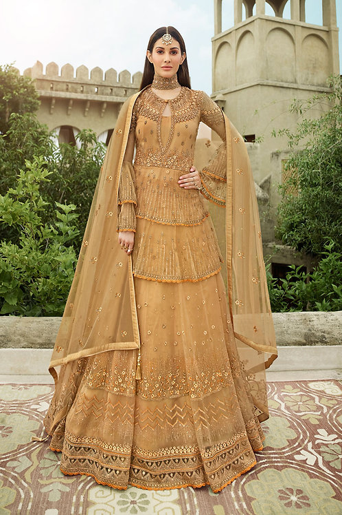 Amazing Gold Color Long Length Gown