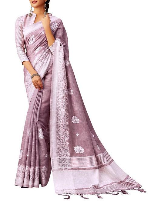 Graceful Purple Cotton Saree