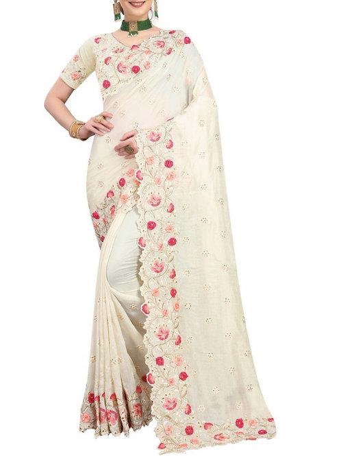 Glamorous Off White Latest Saree Design