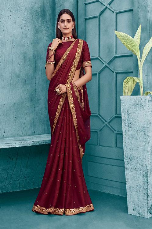 Fancy Silk Saree In Maroon Color