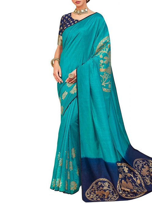 Modish Firozi Designer Wear Sarees Online