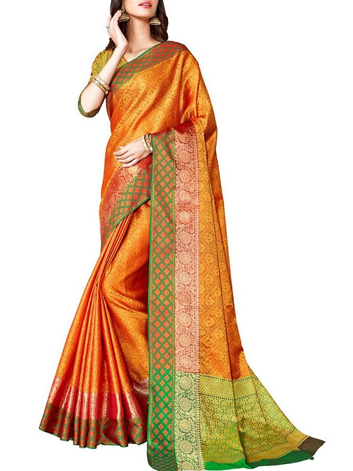 Inviting Orange Color Online Designer Sarees Collection