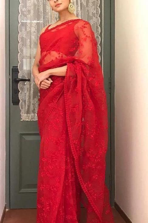 Alia bhatt Wear Red Color Chanderi Coton Saree