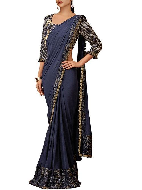 Exclusive Blue Color Net Saree