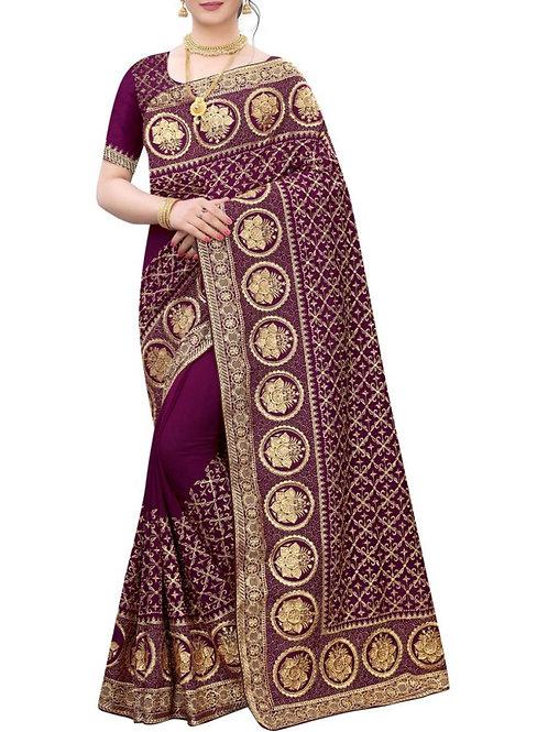 Modish Wine Fashion Designer Saree