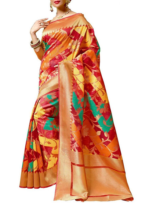 Magnificent Multi Color Fancy Saree Online Shopping