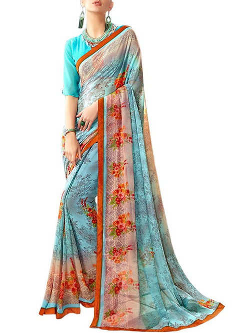 Enjoyable Multi Color Party Wear Sarees Online Shopping