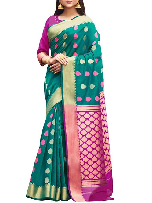 Fashionable Cyan Color Buy Sarees Online