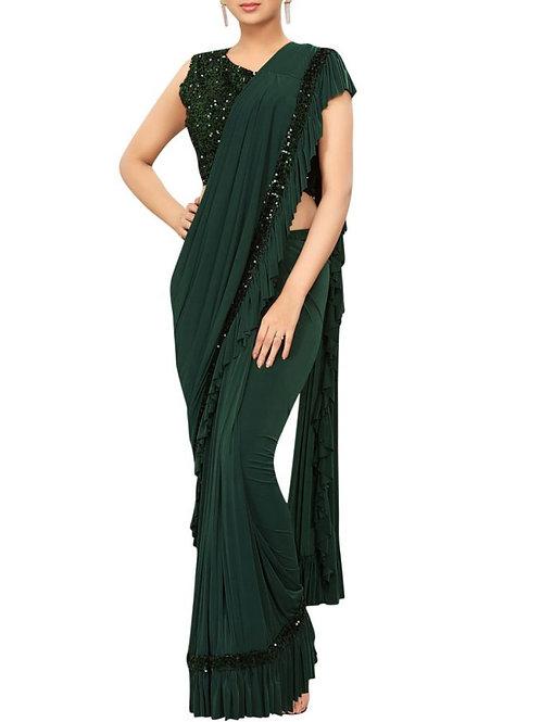 Marvelous Dark Green Color New Model Sarees