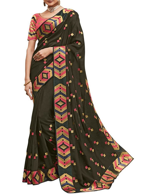 Enjoyable Dark Mehendi Sarees Online Shopping Low Price