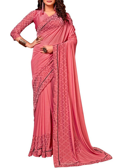 Lovely Peach Printed Saree Online