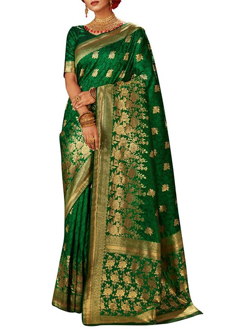 Charming Green Designer Saree