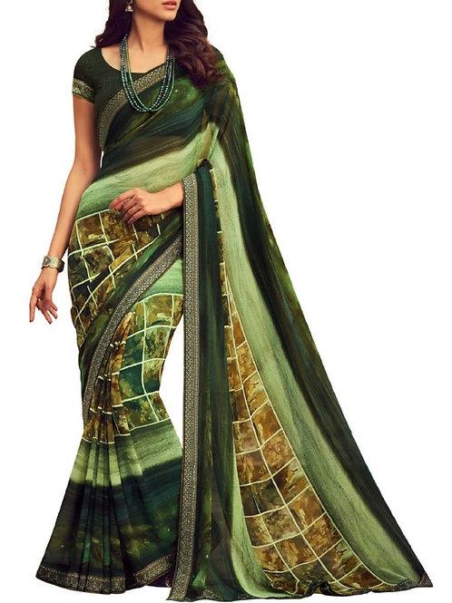 Good-Looking Green Designer Saree