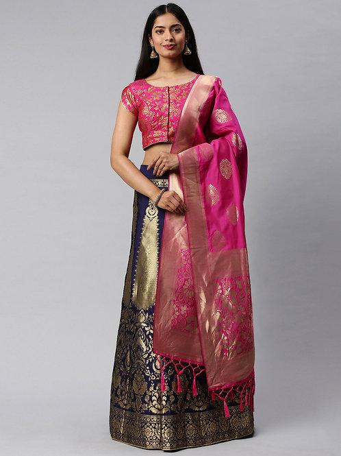 Heavy Banarasi Silk Blue Color Lehenga Choli