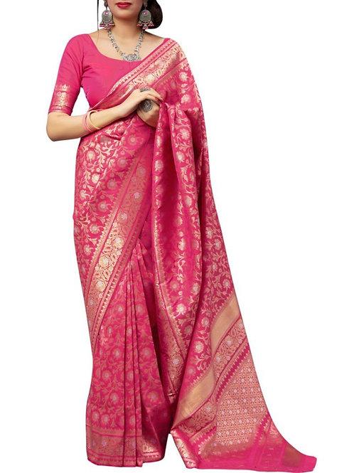 Fabulous Pink Banarasi Saree