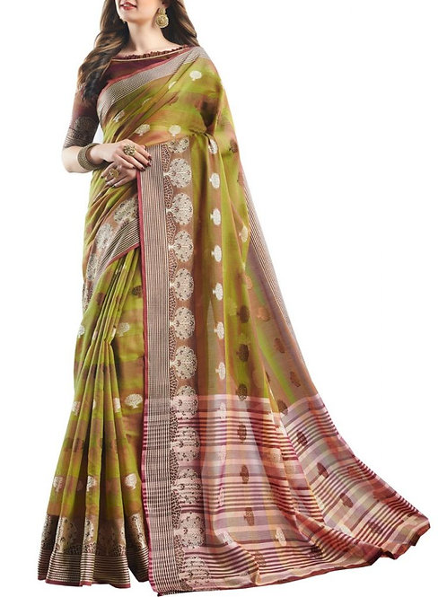 Cheery Yellow Green Color Exclusive Saree