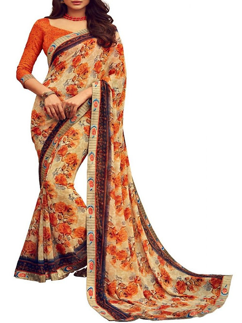 Magnificent Beige Printed Saree