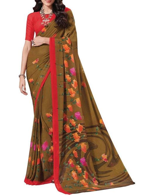 Fashionable Brown Women Saree