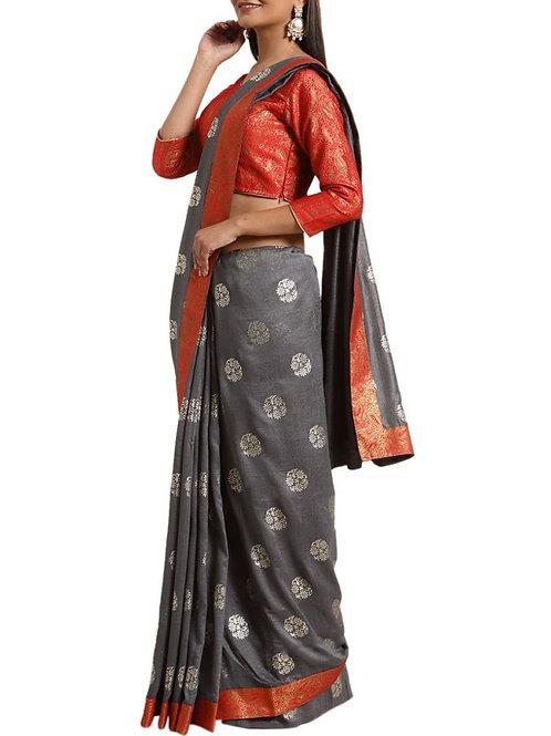 Awe-Inspiring Grey Indian Wedding Saree