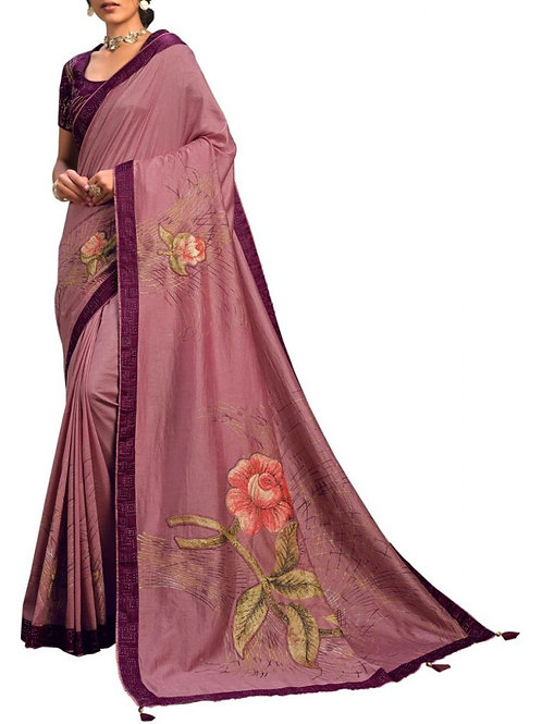Charming Onion Pink Bollywood Sarees Online