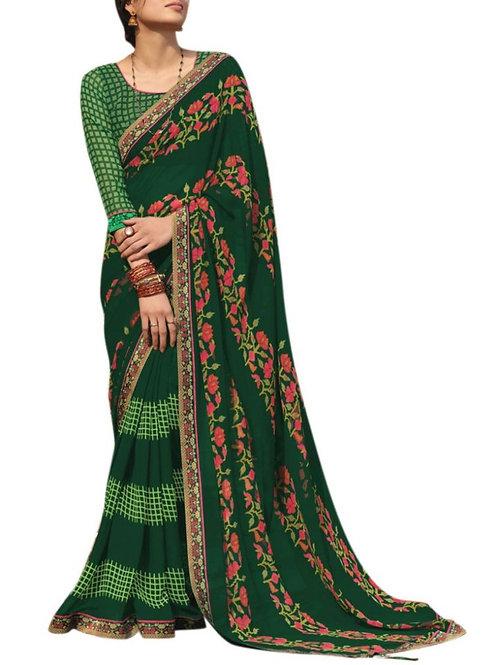 Awesome Dark Green Indian Saree Design