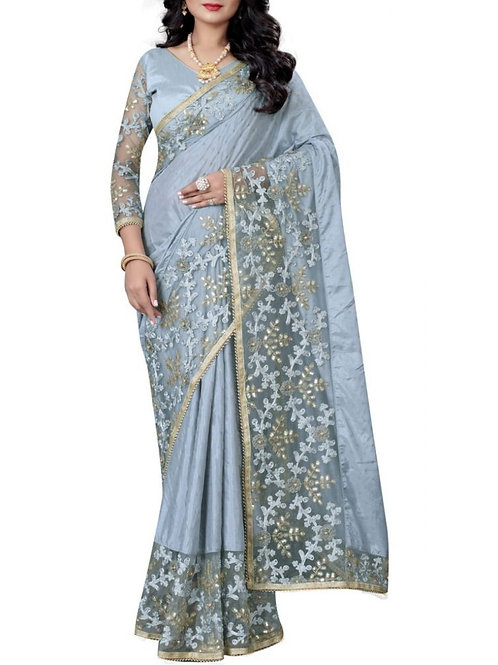 Comely Light Blue Saree With Price