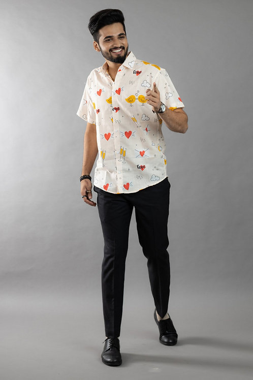 Letest Propose Champagne Printed Half Sleeve Shirt