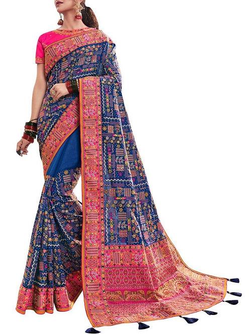 Brilliant Blue South Silk Saree