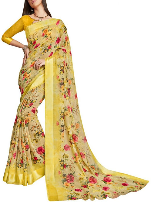 Cheery Lemon Color Indian Sarees For Sale
