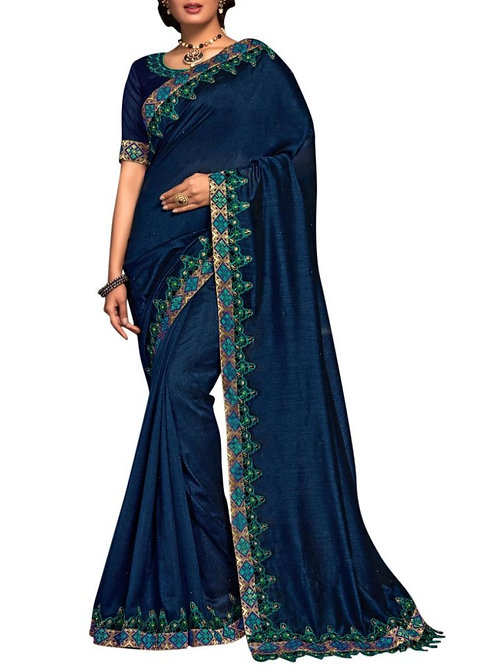 Charming Navy Blue Bollywood Sarees Online