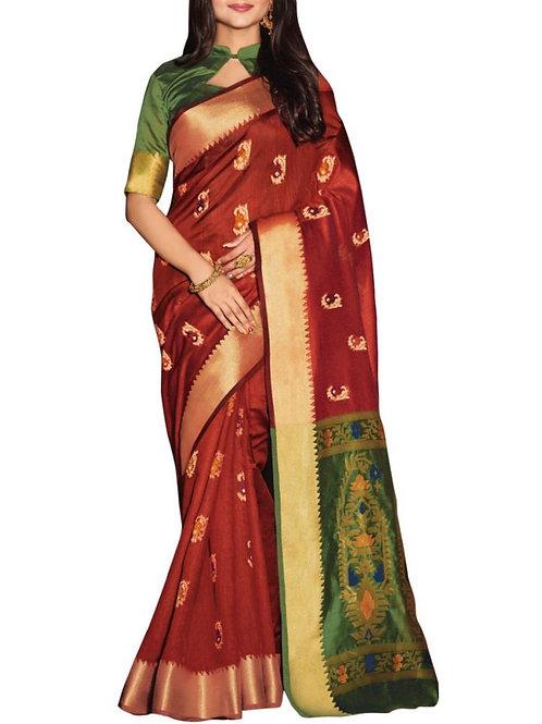 Chic Maroon Color Saree World