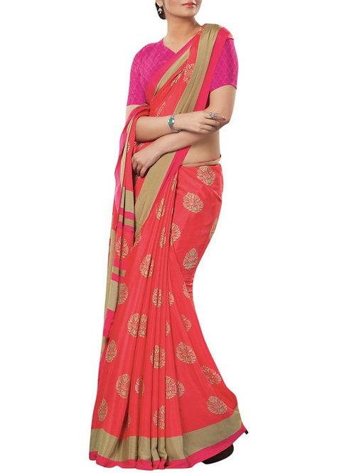 Cheery Coral Color Latest Saree Fashion