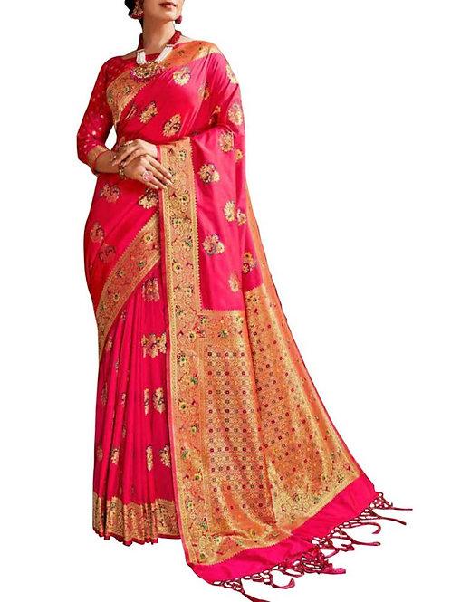 Breathtaking Rani Pink Bridal Sarees With Price