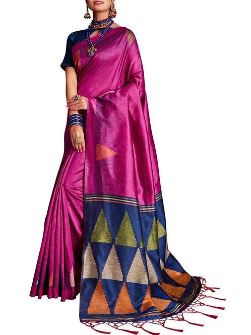 Beautiful Rani Pink Designer Wear Sarees