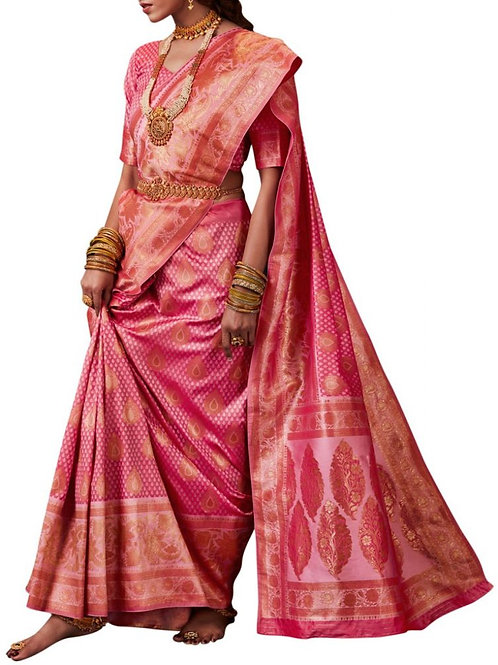 Astonishing Pink Color Party Wear Saree