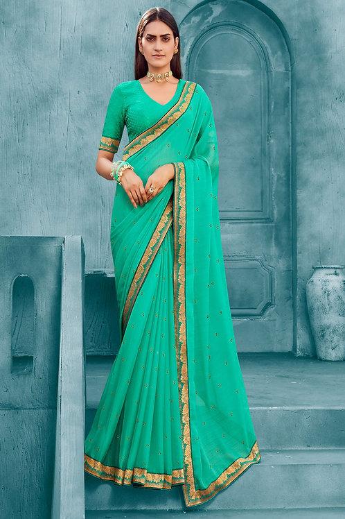 Beautiful Silk Saree in Turquoise