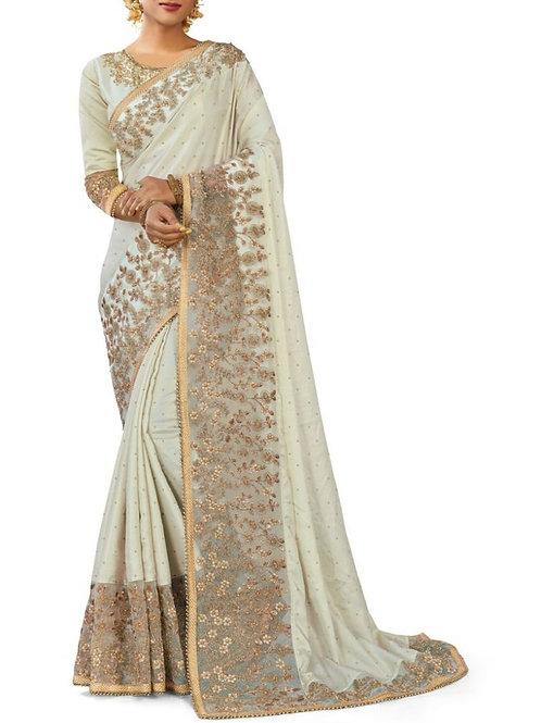 Brilliant White Various Designs Of Sarees